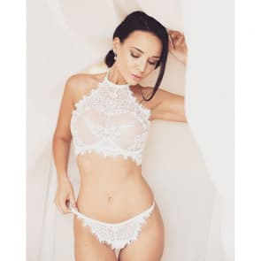 Sweet Lace Flowers Push Up Halter Bralette Set - White