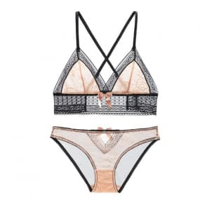 Openwork Lace Ultra-Thin Transparent Triangle Cup Wireless Bra Set