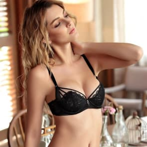 Luxury Strappy Floral Lace Semi Padded Cups Wired Balcony Bra Set - Black