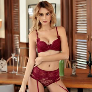 Scallop Lace Padded Cups Wired Garter Belt Lingerie Bra Set - Red