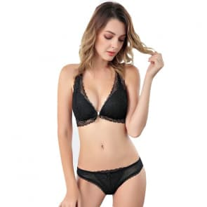 Wireless Halter Front Buckle Crochet Lace Raceback Plunge Bra Set - Black
