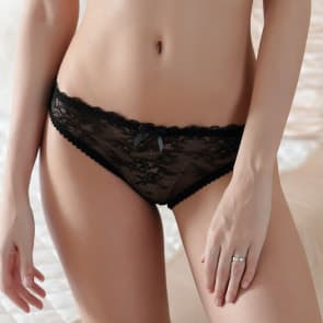 Floral Lace See Through Low Rise Panty - Front