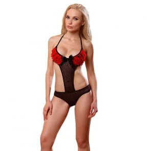 Ruffle & Polka Dot Lace Halter Bikini Bra Set