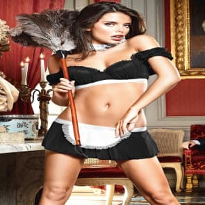 French Maid Uniform Black Ruffle Top & Skirt Costume Set