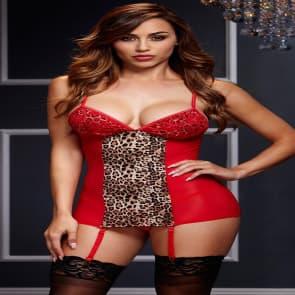 Leopard G-string V Neck Babydoll Lingerie - Red