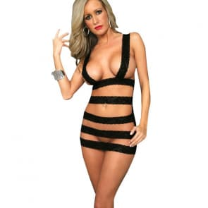 Hot Topless Black Lace Bandage Teddy Lingerie