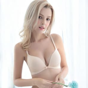 Soft Padded Full Cup Wireless T-shirt Bra Set ~ Petite - Skin