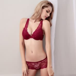 Crochet Lace Cotton Push Up Padded Plunge Lingerie Bra Set - Wine