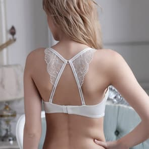 Butterfly Lace Racerback Seamless Sleek Multi-Way Wireless Bra Set - White