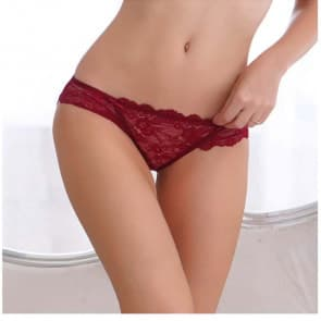 Full Lace Flower Bagged Low Waist Brief