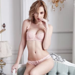 Soft Lace Unlined Demi Cup Uplift Bra Balconette Bra Set - Pink