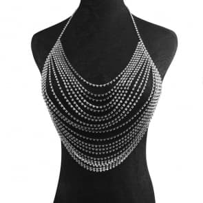 Layered Rhinestone Embellished Body Chain Bra Accessory - Silver