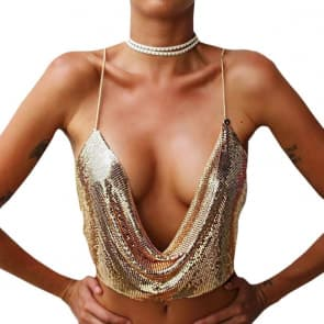 Sparkling Sequins Backless Halter Body Chain Crop Top - GOLD