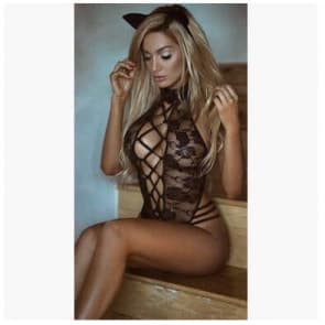 Hollow Out Lace Strap Roses Cat Girl Teddy Lingerie
