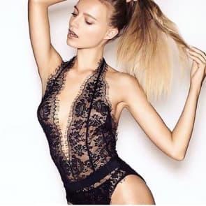 Black Eyelash Lace Deep V Exposed Breast Teddy Lingerie