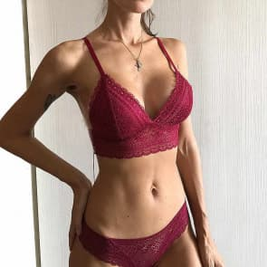 Longline Racerback Crochet Lace Padded Wireless Bralette Set - Red