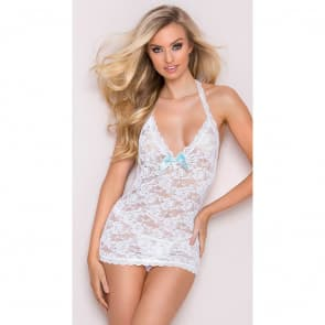 White Front Cropped Lace Slim Fit Babydoll Lingerie