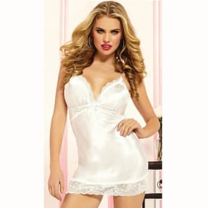 Midnight Silky Satin Lace Chemise - White