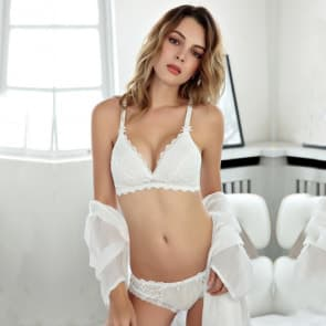 Floral Embroidery Double Layer Thin Padded Wireless Unlined Bra Set - White