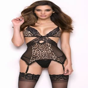 Leopard Lace Exposed Hip Hollow Out Teddy Lingerie